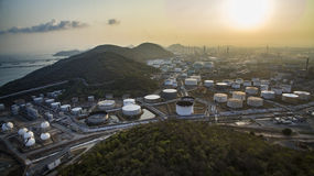 Aerial view of oil tank storage in heavy petrochemical industrie Royalty Free Stock Photos
