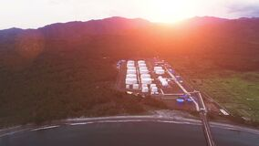 aerial view of oil tank storage in heavy petrochemical industries estate plant
