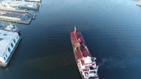 Aerial view of oil tanker Delaware River Philadelphia stock video footage