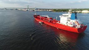 Aerial view of oil tanker Delaware River Philadelphia stock footage