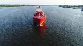 Aerial view of oil tanker Delaware River Philadelphia stock video footage