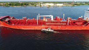Aerial view of oil tanker Delaware River Philadelphia stock video