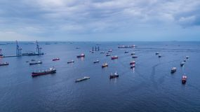 Aerial view oil tanker and gas tanker loading in port. stock photos