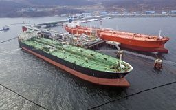 Aerial view of Oil tanker ship loading in port, Royalty Free Stock Photography
