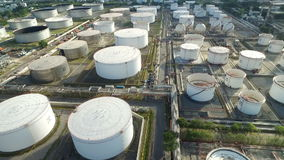 Aerial view of an oil terminal stock video footage