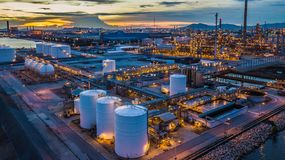 Free Aerial View Oil Terminal Is Industrial Facility For Storage Of O Stock Photography - 126139932
