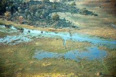 Aerial view of the Okavango delta, Botswana Stock Photos