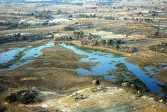 Aerial view of the Okavango delta, Botswana Royalty Free Stock Photos