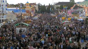 Aerial view of Oktoberfest. Bavaria, Germany. MUNICH, GERMANY, SEPTEMBER 16, 2017: Aerial view of Oktoberfest. Panoramic view on central street in Oktoberfest stock footage