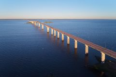 The Oland bridge. Aerial view of the Oland bridge connecting mainland Sweden with the island Oland, viewed from the mainland stock photo