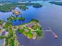 Aerial view of Olavinlinna Olofsborg Castle Stock Photos