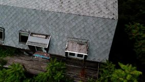 Aerial view of old abandoned scary farm house Royalty Free Stock Image
