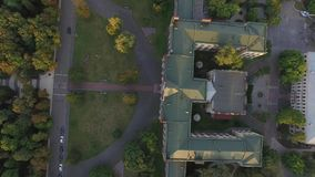 Aerial view of the old building of the university KPI in Kiev, Ukraine. The campus from bird's-eye view on the Sunset. 4k video. Top view stock video footage