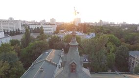 Aerial view of the old building of the university KPI in Kiev, Ukraine. The campus from bird's-eye view on the Sunset. 4k video. Top view stock video