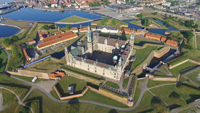 Aerial view of the old castle Kronborg, Denmark Royalty Free Stock Photo