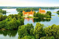 Aerial view of old castle. Trakai stock photo