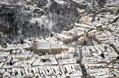 Aerial view of old center of Brasov, Transylvania Royalty Free Stock Photo