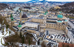 Aerial view on old cit Salzburg at cloudy day Royalty Free Stock Photos
