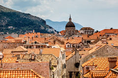 Aerial View on the Old City of Dubrovnik from the City Walls Royalty Free Stock Images