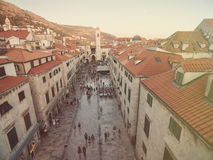 Aerial view of old city of Dubrovnik (Croatia) above Stradun street. Royalty Free Stock Photo
