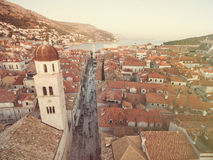 Aerial view of old city of Dubrovnik (Croatia) above Stradun street. Royalty Free Stock Images