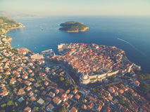 Aerial view of old city of Dubrovnik (Croatia). Royalty Free Stock Photography