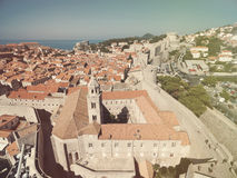 Aerial view of old city of Dubrovnik (Croatia). Royalty Free Stock Photo