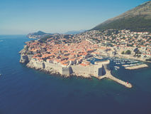 Aerial view of old city of Dubrovnik (Croatia). Royalty Free Stock Images