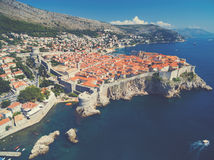 Aerial view of old city of Dubrovnik (Croatia). Royalty Free Stock Image