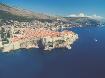 Aerial view of old city of Dubrovnik (Croatia). Stock Photo