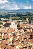 Aerial view of Florence with a view of the Basilica di Santa Croce. Aerial view of the old city of Florence with a view of the Basilica di Santa Croce and the Royalty Free Stock Photo