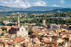 Aerial view of Florence with a view of the Basilica di Santa Croce. Aerial view of the old city of Florence with a view of the Basilica di Santa Croce and the Stock Photo