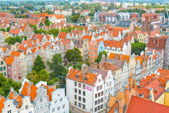 Aerial view at the old city of Gdansk in Poland Royalty Free Stock Images