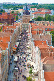 Aerial view at the old city in Gdansk, Poland Stock Image