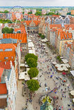 Aerial view at the old city in Gdansk, Poland Stock Photos
