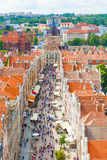 Aerial view at the old city in Gdansk, Poland Royalty Free Stock Photography