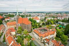 Aerial view of old city with gothic buildings and curches Stock Photo