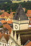 Aerial view of the Old City Hall in Tabor, Czech Republic Royalty Free Stock Image