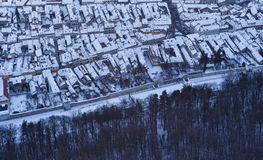 Aerial view of old city houses in winter Stock Photography