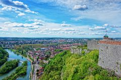 Aerial veiw and citadel at Besancon Bourgogne Franche Comte France royalty free stock photo