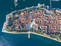 Aerial view of the old city Zadar. stock images