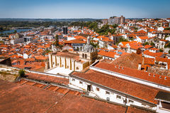Aerial view of old Coimbra in a summer day stock photo