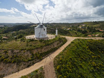 Aerial view of old deserted windmill near Silves, Portugal Royalty Free Stock Images