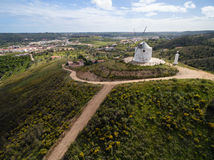 Aerial view of old deserted windmill near Silves, Portugal Stock Photos