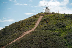 Aerial view of old deserted windmill near Silves, Portugal Stock Photo