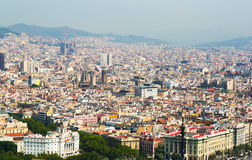 Aerial view  of old districts in Barcelona Stock Photo