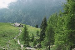 Aerial view of old farm in the mountains somewhere in the north Italy.  Stock Photography