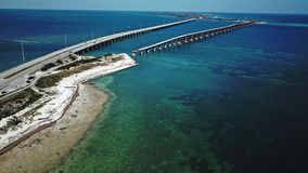 Drone shot of the old and new Florida Keys bridge stock photos