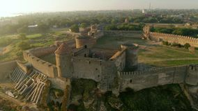 Aerial view of the Old fortress in Belgorod-Dniester at Sunrise, Ukraine stock footage