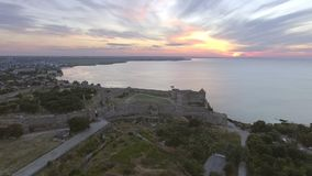 Aerial view of the Old fortress in Belgorod-Dniester at Sunrise, Ukraine stock video footage